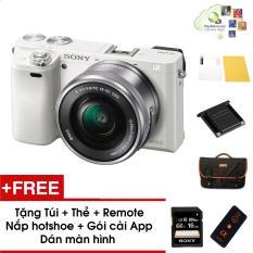 Máy ảnh Sony Alpha A6000 kèm Kit 16-50mm – Màu Trắng – Tặng thẻ nhớ + Túi + Dán màn hình + Remote + Gói cài app + Nắp hotshoe – Hàng phân phối chính hãng