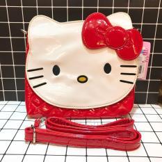 Túi đeo chéo dẹp mèo Kitty da bóng màu đỏ 300KT83011D (20x3x14cm)
