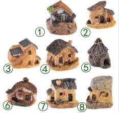 Combo 08 mô hình ngôi nhà mái rạ, mái ngói, tường đá trang trí bonsai, tiểu cảnh