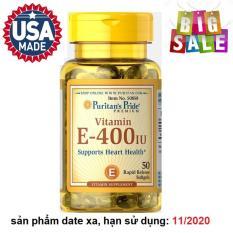 Viên uống bổ sung Vitamin E giúp đẹp da, chống lão hóa, hỗ trợ hệ tim mạch Puritan's Pride Vitamin E-400 IU 50 viên HSD: 11/2020