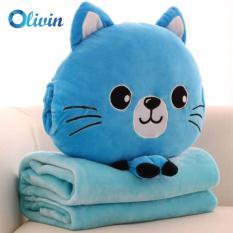 Bộ chăn gối du lịch 3 trong 1 tiện lợi mèo xanh mở mắt cao cấp Olivn LA756