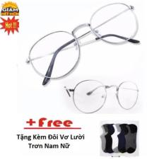 Mắt kính ngố giả cận Nobita thời trang (trắng ) + Tặng Đôi vớ lười trơn nam nữ đẹp
