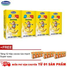 Thùng 48 hộp Sữa uống dinh dưỡng ADM Gold chuối 110ml + tặng 12 hộp Thức uống cacao lúa mạch Super Susu 110ml