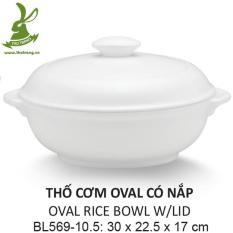Bộ Thố đựng cơm oval để bàn màu trắng nhựa cao cấp rất đẹp 30*22.5cm ( có nắp) SRITHAI SUPERWARE BL569-10.5 W