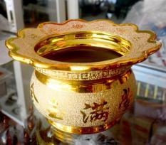 Lư hương thờ cúng kim sa vàng-có khay hứng tàn nhang-Nhiều cỡ