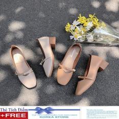 Giày cao gót mũi vuông- giày gót vuông nơ da mềm + Tặng kèm thẻ tích điểm Koreastore