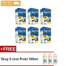 Bộ 6 hộp sữa đặc Ngôi Sao Phương Nam xanh biển – hộp giấy 1284g + Tặng 3 chai sữa chua uống Probi 130ml