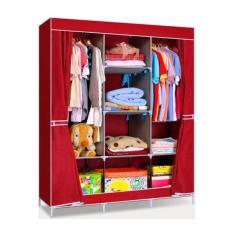Tủ vải quần áo 3 buồng 8 ngăn khung inox cao cấp (họa tiết giao ngẫu nhiên)