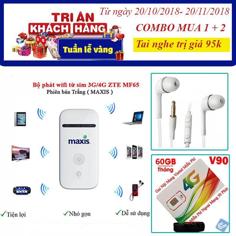 Bảng Giá Bộ phát wifi không dây từ sim 3G/4G ZTE MF65 – Tặng kèm 1 siêu sim 4G Tại AVIBA