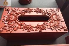 Hộp đựng khăn giấy bằng gỗ cao cấp trạm khắc hoa hồng