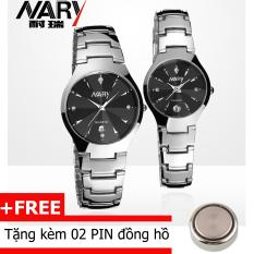 Cặp đồng hồ mặt pha lê dây thép không gỉ Nary DA04