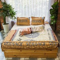 Bộ ga gối giường Cotton Poly Tmark (Xám họa tiết)