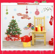 Decal trang trí giáng sinh noel -Cây thông Noel , túi quà và dòng chữ Merry Christmas AY226A decalforchristmas