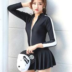 Đồ Bơi Dài Tay Chống Nắng Che Bụng, Bikini Áo Tắm Liền Váy 1 Mảnh Phối Cánh Tay Viền Trắng Bản To Hàn Quốc Cực Đẹp