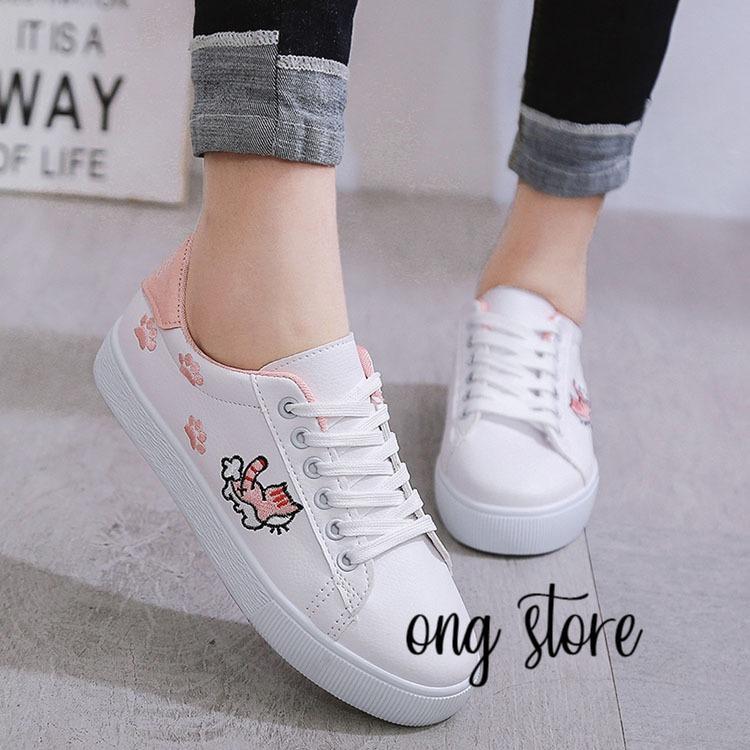 Giày sneaker nữ, giày thể thao nữ thêu mèo xinh xắn (mèo hồng)