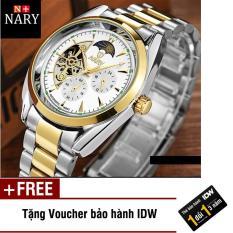Đồng hồ nam cơ tự động 5 kim dây thép không gỉ cao cấp Nary IDW 5581 + Tặng kèm voucher bảo hành IDW