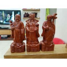 Bộ tam đa phúc lộc thọ gỗ hương nguyên khối cao 30cm