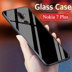 "Nokia 7 Plus Case ""HONG KONG Design"" Luxury Fashion Tempered Glass Protector Casing for Nokia 7 Plus Glass Back Cover"