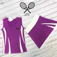 Bộ váy quần áo sát nách pha tia dành cho các nàng chơi bộ môn cầu lông, tennis