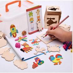Bộ Khuôn vẽ cho bé tập vẽ gồm 50 chi tiết hoạt hình + Vở + 12 bút màu, bút chì, vở vẽ