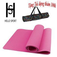 Thảm Tập TPE Yoga Đúc 1 Lớp 6mm Cao Cấp HS ( Tặng Túi + Dây Buộc) – Hồng Nhạt