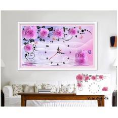 Tranh đính đá đồng hồ hoa hồng dây Y8024 80x50cm