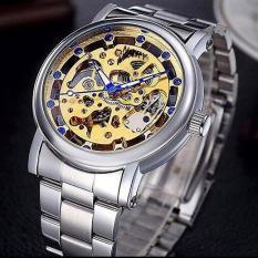 Đồng hồ cơ nam dây thép thương hiệu Nary (Dây Bạc, Mặt Vàng)