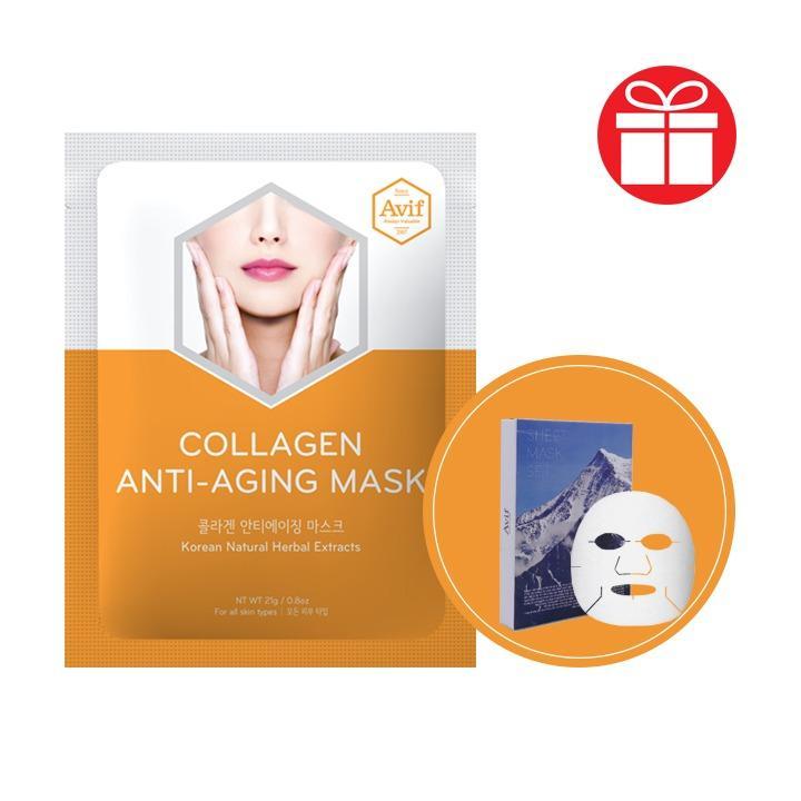 COMBO 7 MẶT NẠ TENCEL COLLAGEN TRẺ HÓA DA Avif Collagen Anti-aging Mask + Tặng 14 Tuýp Kem Serum Làm Mịn Da Tức Thì Beta-glucan Soothing Cream