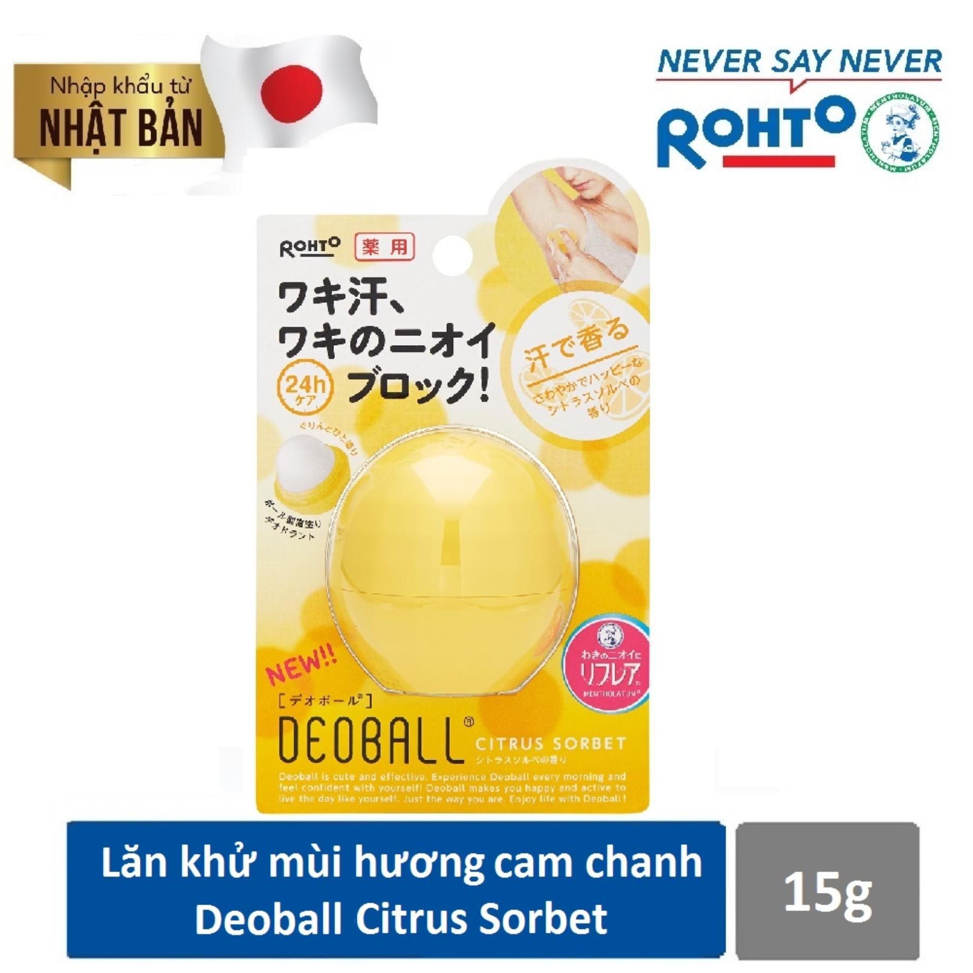 Lăn Khử Mùi Hương Cam Chanh Tươi Mát Rohto Deoball Citrus Sorbet 15g ( Nhập khẩu từ Nhật Bản)