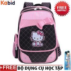 Balo học sinh chống gù lưng PinkCat cho bé gái Từ lớp 1 đến lớp 3 Tặng bộ dụng cụ học tập (Anh thực tế)