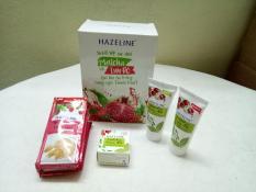 Set quà : 6 gói sữa tắm yến mạch + 2 tuýt sửa rửa mặt + 1 hộp kem nén lựu hazelin + tặng 1 túi đựng mỹ phẩm