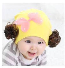 Mũ tóc giả cotton cho bé gái 0-36m