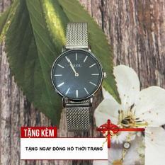[TẶNG KÈM ĐỒNG HỒ DÂY THÉP] Đồng hồ dây thép lụa của nữ thiết kế dây mảnh cùng mặt tròn trơn trẻ trung, thời trang mà không kém phần sang chảnh G43-VE56