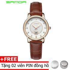 đồng hồ dây da nữ sanda s168, hiển thị lịch ngày, nạm đá cực sang, chịu nươc 30m ( Dây da nâu, đỏ )