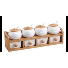 Bộ 8 gia vị bằng gốm nắp gỗ