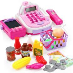 Đồ chơi máy tính tiền siêu thị hiện số, tính tiền, tít sản phẩm, mic phát âm thanh.