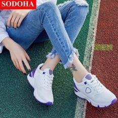 Giày Sneaker Thể Thao Nữ Mẫu Mới Siêu Hot SODOHA SNN35528WT Trắng Phối Tím