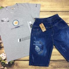 Set áo thun + quần jean bé trai