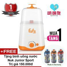 Máy hâm sữa và tiệt trùng 2 bình cổ rộng thế hệ mới Fatz Baby FB3012SL Tặng bình uống nước Nuk Junior Cup