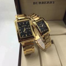Cặp Đồng hồ Halei nam nữ cao cấp chống xước chống nước tuyệt đối (Giá 1 đôi) dây vàng mặt đen