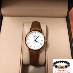 Đồng hồ nữ dây da Halei thời thượng TẶNG 1 vòng may mắn (dây nâu mặt trắng)