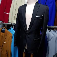 Bộ vest nam màu đen ôm body mẫu trơn đơn giản (áo + quần)