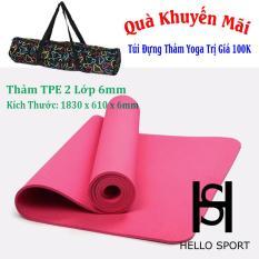 Thảm Tập TPE Yoga Đúc 1 Lớp 6mm Cao Cấp HS ( Tặng Túi + Dây Buộc)