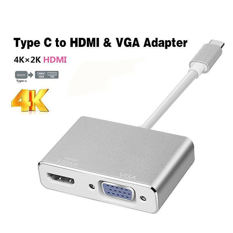 3 in1 USB 3.1 Type C to HDMI+VGA+Audio Female Adapter for Macbook (Silver) - intl
