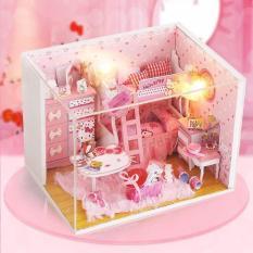 Mô hình nhà gỗ DIY- Nhà búp bê PINK GIRL DiyDollHouse