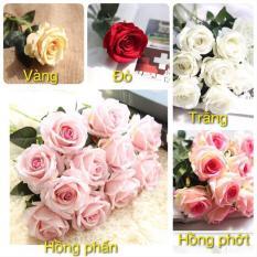 Hoa lụa đóa hoa hồng nhung cực đẹp Hồng phấn