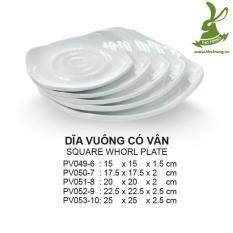 Bộ 2 Đĩa vuông nhựa cao cấp có vân tròn rất đẹp 17.5cm SRITHAI SUPERWARE PV050-7 W