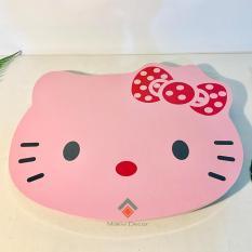 Bàn để laptop xếp gọn hình Kitty HỒNG (NƠ) – Bàn gỗ chân xếp – Tặng kèm sổ tay A7