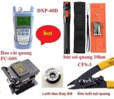 Bộ thi công cáp quang chuyên nghiệp với độ chính xác cao với 5 sản phẩm:Máy đo suy hao quang HX + Dao cắt sợi quang SKL -60S (FC-60S) + Bút soi sợi quang 10Km + Kìm tuốt sợi quang + Lưỡi dao thay thế