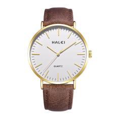 Đồng hồ nam Halei dây da màu nâu mềm chống nước tuyệt đối